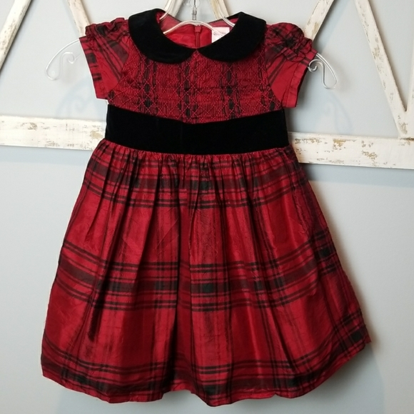 Gymboree NWT Party Plaid Velveteen Red Black Bow Holiday Christmas Girls Dress 4